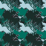 Seamless pattern with predatory birds silhouettes Stock Photo