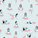 Seamless pattern with pregnant woman doing yoga exercises and meditating against blue background. Concept of spiritual stock illustration