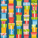 Seamless pattern with presents. Bright seamless pattern with flat gift icons Stock Photo