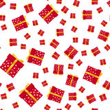 Seamless pattern of presents on white background. Vector illustration Stock Images