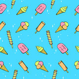 Seamless pattern of pretty ice cream Stock Photo
