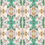 Seamless pattern with pretty white lily flower on green background, based on hand painting illustration. Abstract kaleidoscopic floral pattern royalty free illustration