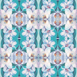 Seamless pattern with pretty white lily flower on green background, based on hand painting illustration. Abstract kaleidoscopic floral pattern stock illustration