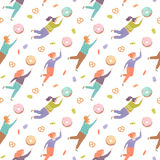 Seamless pattern with pretty women trying to reach out for the sweets Stock Photos