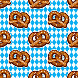 Seamless pattern with pretzels for Oktoberfest on Bavarian flag background. Stock Image