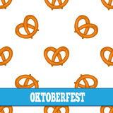 Seamless pattern with pretzels for Oktoberfest on white background. Royalty Free Stock Image