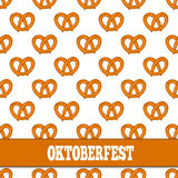 Seamless pattern with pretzels for Oktoberfest on white background. Stock Images
