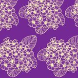 Seamless pattern with primula on the dark violet background royalty free illustration