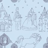 Seamless pattern with prince, princess, castle, carriage with horse and butterflies. Fairy tale theme. Isolated objects. Vintage vector illustration Royalty Free Stock Photo