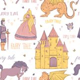 Seamless pattern with prince, princess, castle, dragon, fairy, horse. Fairy tale theme. Isolated objects. Vintage vector illustration Royalty Free Stock Photography