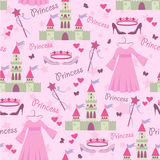 Seamless pattern with princess accessories vector illustration