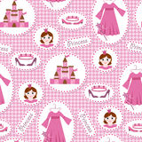 Seamless pattern with princess accessories Royalty Free Stock Photos