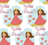 Seamless pattern princess with flowers Stock Image