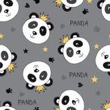 Seamless pattern with princess panda Royalty Free Stock Image