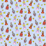 Seamless pattern with princess, queen, king and knight Royalty Free Stock Image