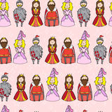 Seamless pattern with princess, queen, king and knight Stock Photography