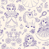 Seamless pattern with princesses Royalty Free Stock Photo