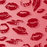 Seamless pattern with a print of female lips vector illustration
