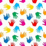 Seamless Pattern. Print of Hands. Vector Illustration Royalty Free Illustration