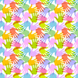 Seamless Pattern. Print of Hands. Stock Photography