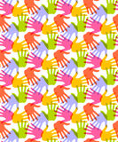 Seamless Pattern. Print of Hands. Stock Image