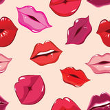 Seamless pattern, print of lips Royalty Free Stock Photos