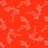 Seamless pattern for print textile design or paper wrapping. Jumping Deer silhouette with decorative ornament, Merry Christmas Ornaments vector illustration