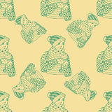 Seamless pattern for print textile design or paper wrapping. Merry Christmas doodles with boy royalty free illustration