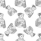 Seamless pattern for print textile design or paper wrapping.Merry Christmas doodles. With boy stock illustration