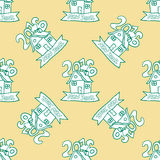 Seamless pattern for print textile design or paper wrapping. Merry Christmas doodles with christmas house and 2016 number vector illustration