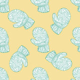 Seamless pattern for print textile design or paper wrapping. Merry Christmas doodles with christmas mittens royalty free illustration