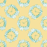 Seamless pattern for print textile design or paper wrapping. Merry Christmas doodles with christmas wreath and wall clock vector illustration