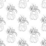 Seamless pattern for print textile design or paper wrapping.Merry Christmas doodles. With christmas gift bag Royalty Free Stock Photo