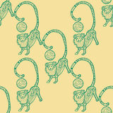Seamless pattern for print textile design or paper wrapping. Merry Christmas doodles with Monkey, symbol of the year 2016 stock illustration