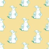 Seamless pattern for print textile design or paper wrapping. Merry Christmas doodles with penguin father and son royalty free illustration