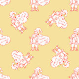 Seamless pattern for print textile design or paper wrapping. Merry Christmas doodles with Santa royalty free illustration