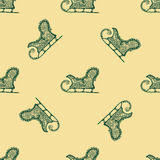 Seamless pattern for print textile design or paper wrapping. Merry Christmas doodles with sled royalty free illustration