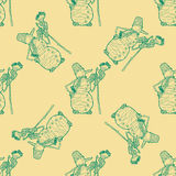 Seamless pattern for print textile design or paper wrapping. Merry Christmas doodles with snowman stock illustration