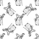 Seamless pattern for print textile design or paper wrapping.Merry Christmas doodles. With snowman royalty free illustration