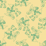 Seamless pattern for print textile design or paper wrapping. Merry Christmas doodles with stork bird brought the baby vector illustration