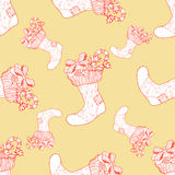 Seamless pattern for print textile design or paper wrapping. Merry Christmas doodles with xmas sock vector illustration