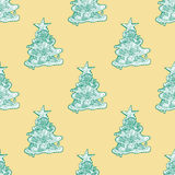 Seamless pattern for print textile design or paper wrapping. Merry Christmas doodles with xmas tree royalty free illustration