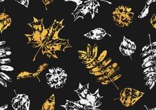 Seamless pattern with printed leaves. Art illustration of autumn foliage Stock Illustration