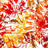 Seamless pattern with printed leaves. Art illustration of autumn foliage Vector Illustration