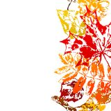 Seamless pattern with printed leaves. Art illustration of autumn foliage Royalty Free Illustration