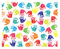 Seamless pattern, prints of hands. On white Royalty Free Stock Image