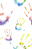 Seamless pattern with prints of hands Stock Images