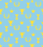 Seamless pattern of the prize cups, laurel wreaths, medals, crow Royalty Free Stock Images