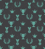 Seamless pattern of the prize cups, laurel wreaths, medals, crow Royalty Free Stock Photo