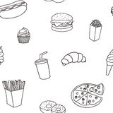 Seamless pattern from products fast food Royalty Free Stock Photo